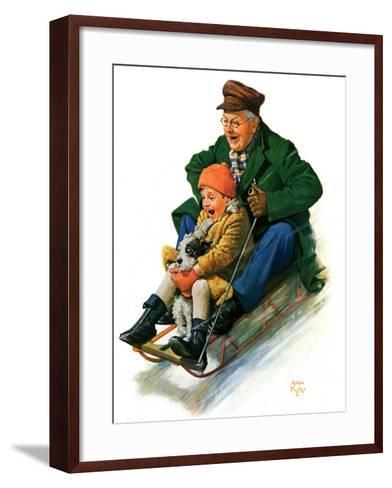 """""""Sledding with Grandpa,""""February 8, 1930-Alan Foster-Framed Art Print"""