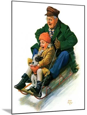 """""""Sledding with Grandpa,""""February 8, 1930-Alan Foster-Mounted Giclee Print"""