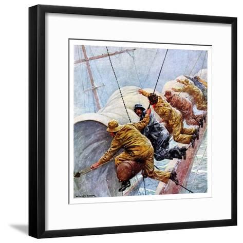 """""""Trim the Sails!,""""March 18, 1933-Anton Otto Fischer-Framed Art Print"""
