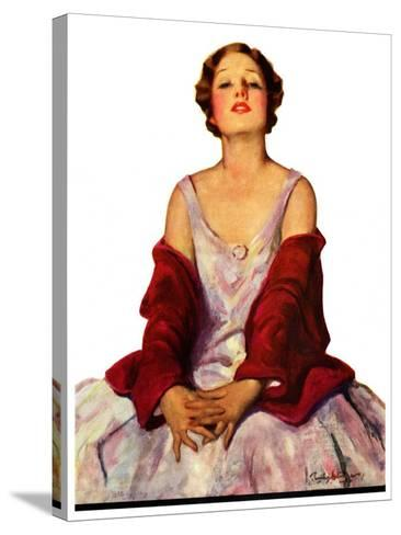 """""""Woman in Red Stole,""""July 22, 1933-Penrhyn Stanlaws-Stretched Canvas Print"""