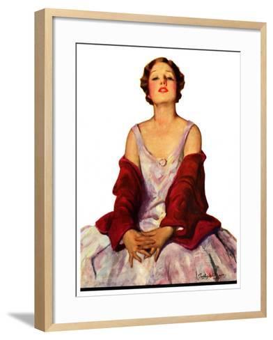 """Woman in Red Stole,""July 22, 1933-Penrhyn Stanlaws-Framed Art Print"