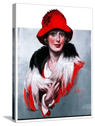 """Woman in Red Hat,""March 3, 1923-Neysa Mcmein-Stretched Canvas Print"