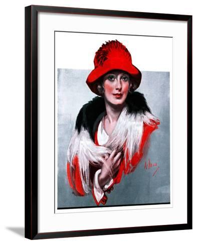 """Woman in Red Hat,""March 3, 1923-Neysa Mcmein-Framed Art Print"