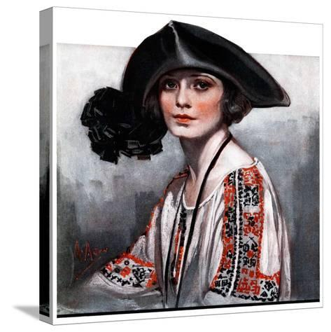 """""""Woman in Embroidered Blouse,""""May 5, 1923-Neysa Mcmein-Stretched Canvas Print"""