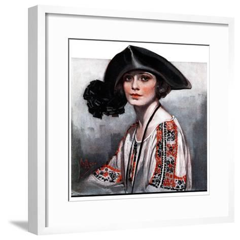 """""""Woman in Embroidered Blouse,""""May 5, 1923-Neysa Mcmein-Framed Art Print"""