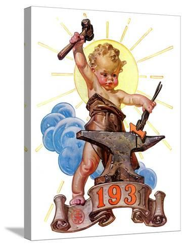 """Forging a New Year,""December 27, 1930-Joseph Christian Leyendecker-Stretched Canvas Print"