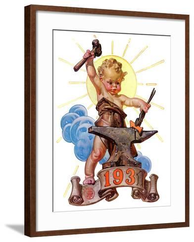 """Forging a New Year,""December 27, 1930-Joseph Christian Leyendecker-Framed Art Print"