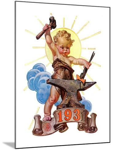 """Forging a New Year,""December 27, 1930-Joseph Christian Leyendecker-Mounted Giclee Print"