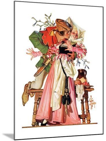 """""""Stealing a Christmas Kiss,""""December 23, 1933-Joseph Christian Leyendecker-Mounted Giclee Print"""