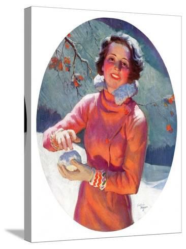 """""""Woman Forming a Snowball,""""February 10, 1934-Frederic Mizen-Stretched Canvas Print"""
