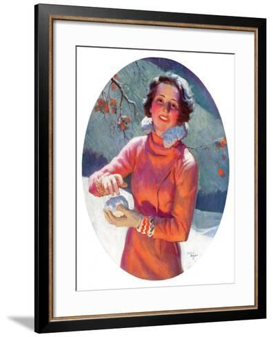"""Woman Forming a Snowball,""February 10, 1934-Frederic Mizen-Framed Art Print"
