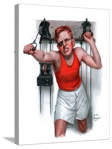 """""""Readying for Rematch,""""June 9, 1923-Leslie Thrasher-Stretched Canvas Print"""
