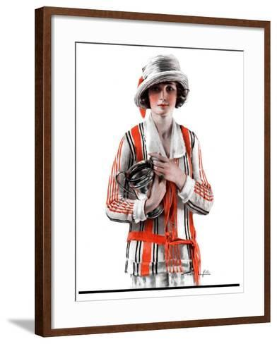"""Woman and Trophy,""September 1, 1923-Pearl L^ Hill-Framed Art Print"