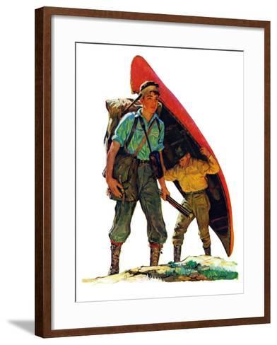 """""""Canoe Portage,""""March 24, 1934-Eugene Iverd-Framed Art Print"""