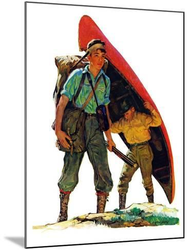"""""""Canoe Portage,""""March 24, 1934-Eugene Iverd-Mounted Giclee Print"""