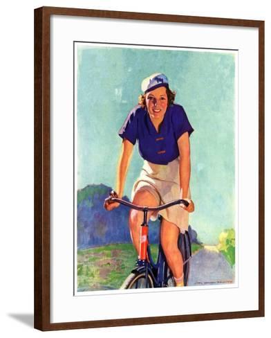 """Woman on a Bike,""April 28, 1934-John Newton Howitt-Framed Art Print"