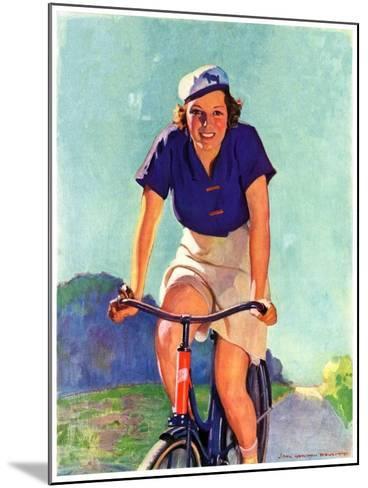 """Woman on a Bike,""April 28, 1934-John Newton Howitt-Mounted Giclee Print"