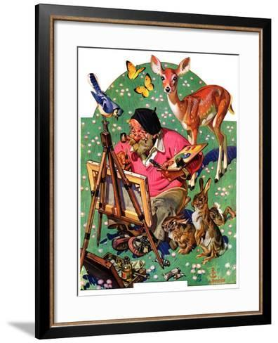 """Artist and Animals,""May 26, 1934-Joseph Christian Leyendecker-Framed Art Print"