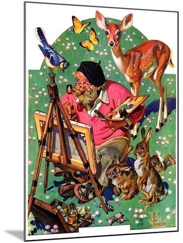 """Artist and Animals,""May 26, 1934-Joseph Christian Leyendecker-Mounted Giclee Print"