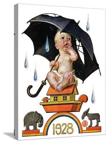 """Raining on Baby New Year,""December 31, 1927-Joseph Christian Leyendecker-Stretched Canvas Print"