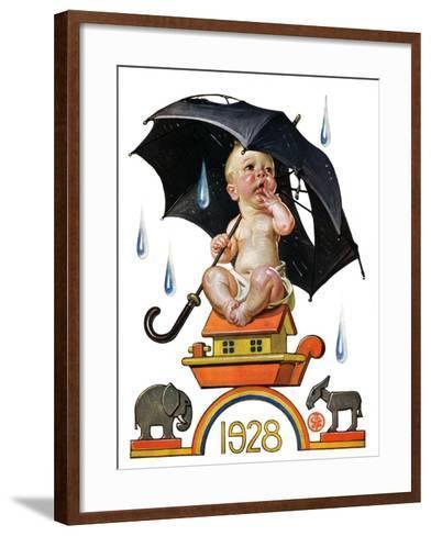 """""""Raining on Baby New Year,""""December 31, 1927-Joseph Christian Leyendecker-Framed Art Print"""