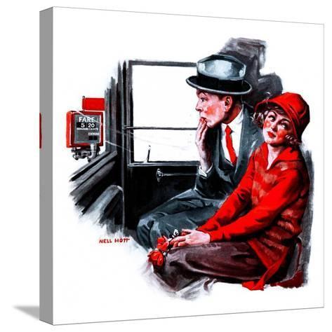 """Taxi Cab,""April 26, 1924-Neil Hott-Stretched Canvas Print"
