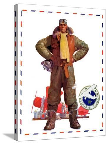 """Airmail Pilot,""December 8, 1934-John E^ Sheridan-Stretched Canvas Print"