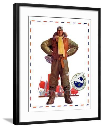 """Airmail Pilot,""December 8, 1934-John E^ Sheridan-Framed Art Print"