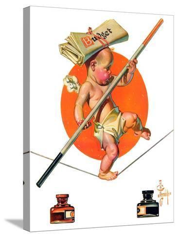 """Baby New Year Balances the Budget,""January 5, 1935-Joseph Christian Leyendecker-Stretched Canvas Print"