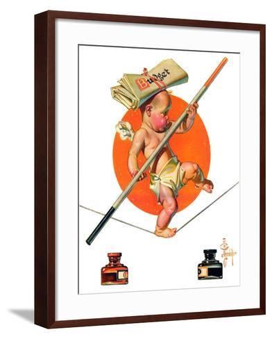 """Baby New Year Balances the Budget,""January 5, 1935-Joseph Christian Leyendecker-Framed Art Print"
