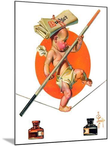 """Baby New Year Balances the Budget,""January 5, 1935-Joseph Christian Leyendecker-Mounted Giclee Print"
