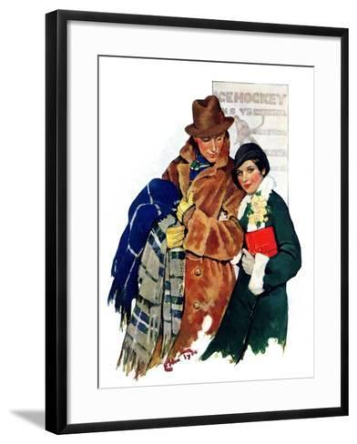 """Date at Hockey Game,""March 12, 1932-Ellen Pyle-Framed Art Print"
