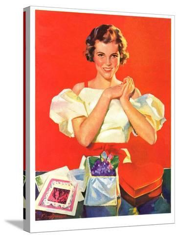"""""""Valentine's Gifts,""""February 16, 1935-F. Sands Brunner-Stretched Canvas Print"""