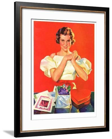 """""""Valentine's Gifts,""""February 16, 1935-F. Sands Brunner-Framed Art Print"""