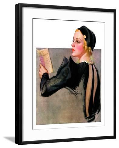 """Woman at the Theater,""April 13, 1935-Bradshaw Crandall-Framed Art Print"