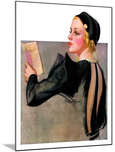 """Woman at the Theater,""April 13, 1935-Bradshaw Crandall-Mounted Giclee Print"