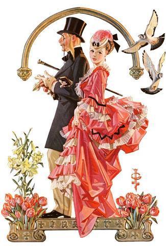 """Easter Promenade,""March 26, 1932-Joseph Christian Leyendecker-Stretched Canvas Print"