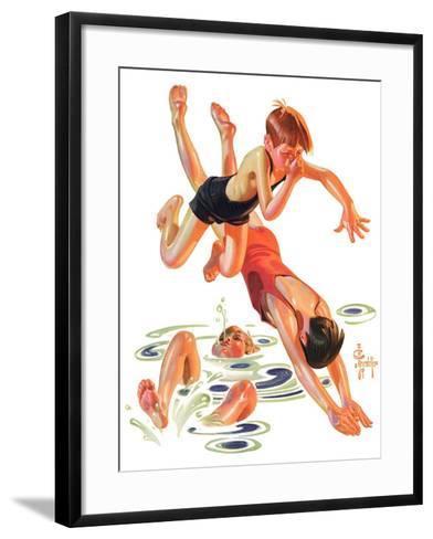 """""""Diving In,""""June 8, 1935-Joseph Christian Leyendecker-Framed Art Print"""