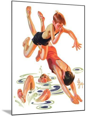 """Diving In,""June 8, 1935-Joseph Christian Leyendecker-Mounted Giclee Print"