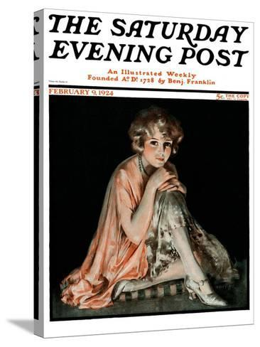 """Pensive Woman,"" Saturday Evening Post Cover, February 9, 1924-Pearl L. Hill-Stretched Canvas Print"