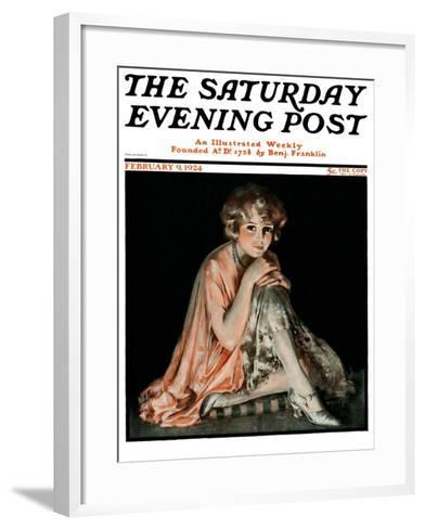 """Pensive Woman,"" Saturday Evening Post Cover, February 9, 1924-Pearl L. Hill-Framed Art Print"