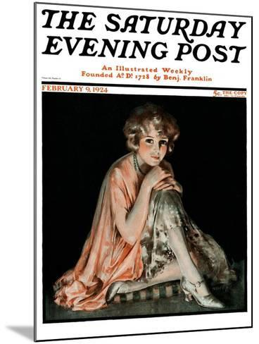 """Pensive Woman,"" Saturday Evening Post Cover, February 9, 1924-Pearl L. Hill-Mounted Giclee Print"