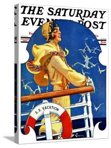 """""""S. S. Vacation,"""" Saturday Evening Post Cover, July 20, 1929-Elbert Mcgran Jackson-Stretched Canvas Print"""