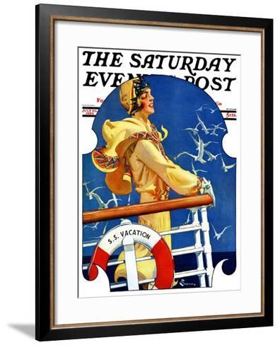 """S. S. Vacation,"" Saturday Evening Post Cover, July 20, 1929-Elbert Mcgran Jackson-Framed Art Print"