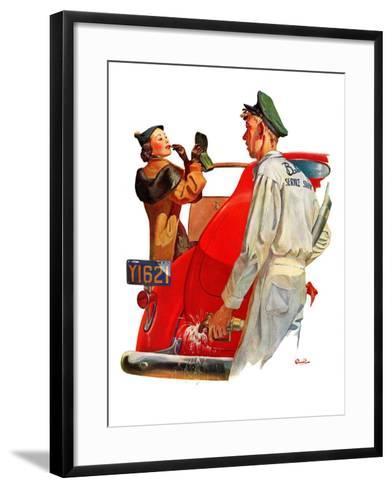 """Fill'er Up,""April 3, 1937-McCauley Conner-Framed Art Print"