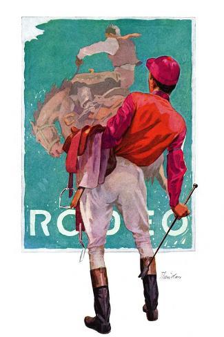 """""""Jockey Looks at Poster,""""May 8, 1937-John E^ Sheridan-Stretched Canvas Print"""