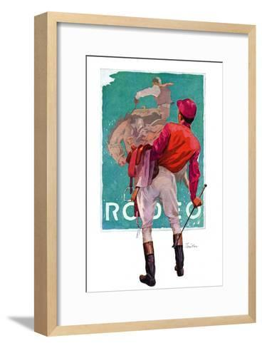 """Jockey Looks at Poster,""May 8, 1937-John E^ Sheridan-Framed Art Print"