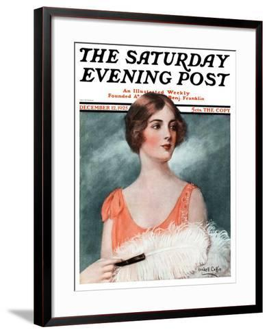 """White Feathered Fan,"" Saturday Evening Post Cover, December 12, 1925-William Haskell Coffin-Framed Art Print"