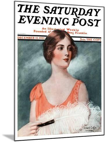 """White Feathered Fan,"" Saturday Evening Post Cover, December 12, 1925-William Haskell Coffin-Mounted Giclee Print"