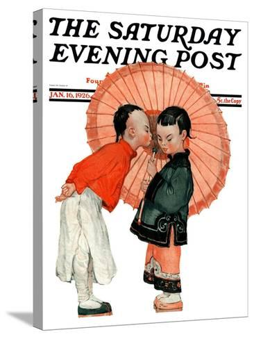 """""""Japanese Kiss,"""" Saturday Evening Post Cover, January 16, 1926-Henry Soulen-Stretched Canvas Print"""